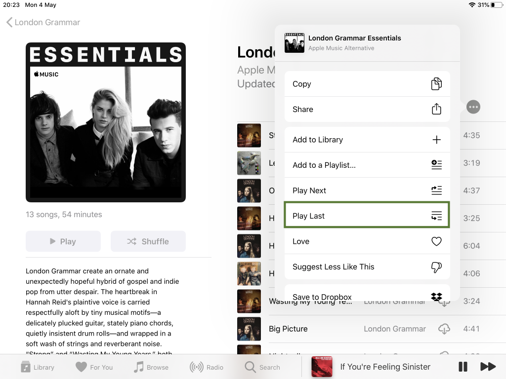 interface apple music en anglais